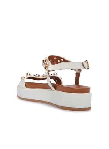Divarese 5024113 Taşlı Kadın Sandalet Beyaz
